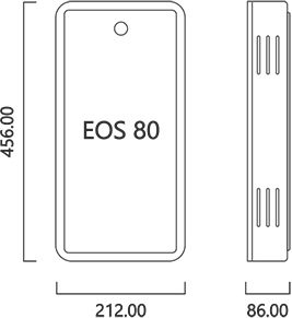 Dimensions of the Aura Model EOS 80 (212 x 456 x 86 mm)